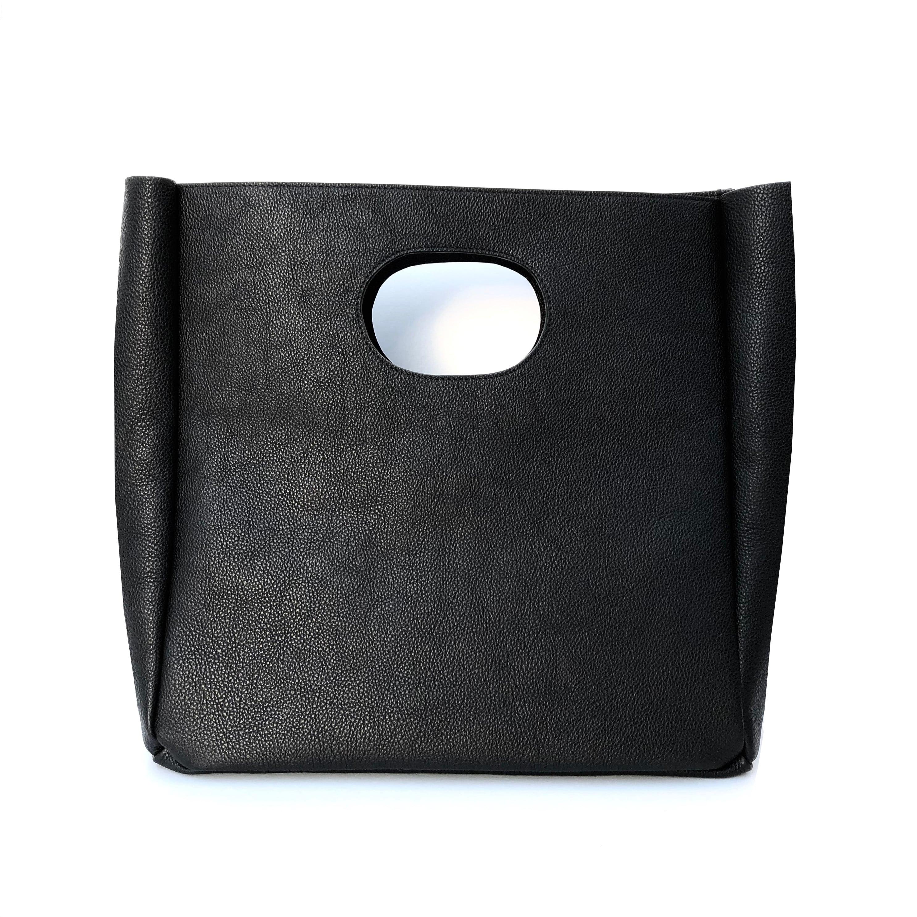 Box Leather Bag + Strap/BLACK