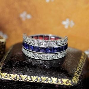 ルビー サファイヤ & ダイヤモンド トリプルフープ リング