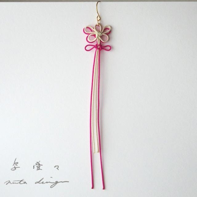 かたっぽピアス「姿澄々」(アイボリー×濃ピンク)