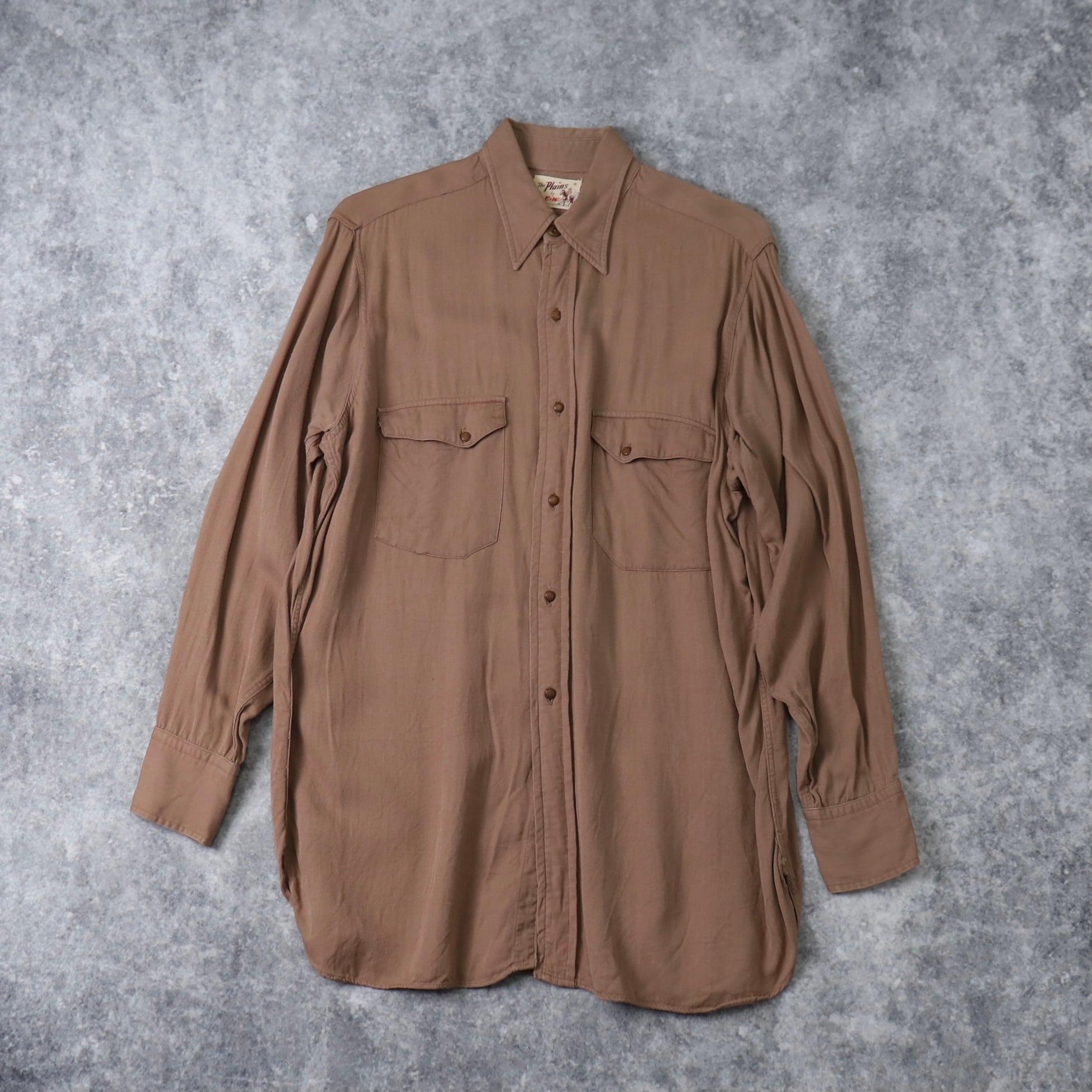 50's  ''The Plains by E&W'' Gabardine Shirts ギャバシャツ ギャバジンシャツ ウエスタンシャツ ビンテージシャツ A554