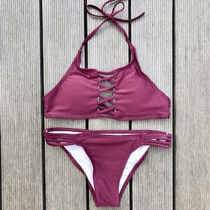 Bikini♡レースアップホルタービキニ ボルドー