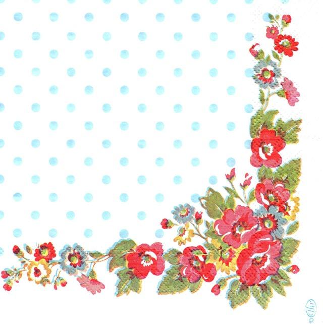 【Cath Kidston】バラ売り1枚 ランチサイズ ペーパーナプキン FOLK FLOWERS ホワイト