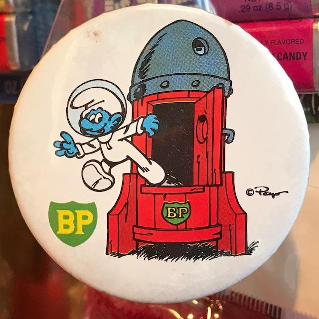 スマーフ 80's BP 企業物 オールド 缶バッジ アストロスマーフとロケットver.
