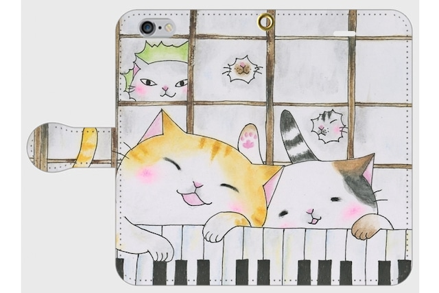 (iPhone用)鍵盤猫の手帳型スマホケース