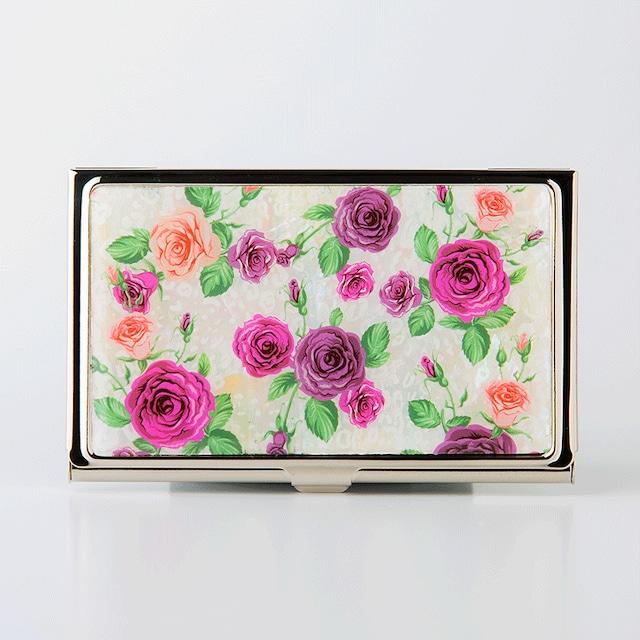 天然貝 名刺カードケース(ロマンティックローズ)シェル・螺鈿アート