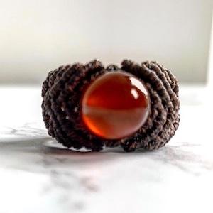 カーネリアン マクラメ編みリング