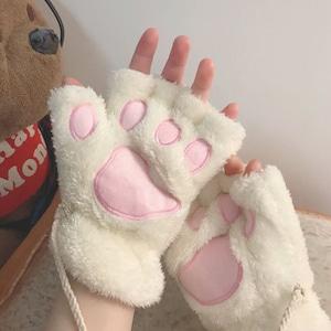 手袋 かわいい レディース 冬 指なし 猫爪柄 もこもこ 防寒5104