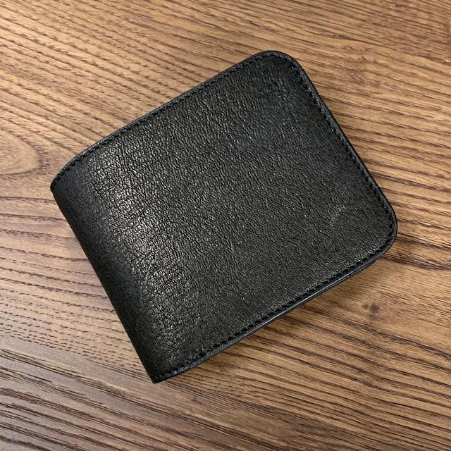 広島ジビエレザー☆鹿革&牛革二つ折り財布 ブラック 写真の現品のお届けとなります