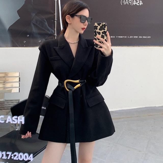 【アウター】ファッション気質 無地 折襟 ランタンスリーブ ベルト付き コート36932112