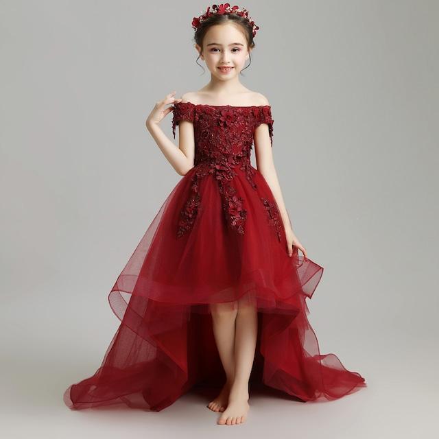 子どもドレス 子供ドレス キッズドレス ジュニア フォーマル用 ピアノ発表会 結婚式 入園式 卒業式 子供服 女の子 子供ワンピース レッド アシンメトリー ワインレッド 赤い