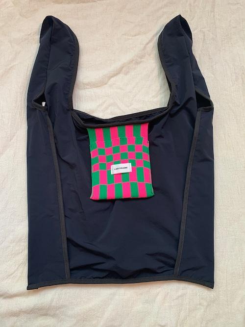 LASTFRAME ICHIMATSU POCKET REVERSE MARKET BAG (Black x (Neon Pink x Green))