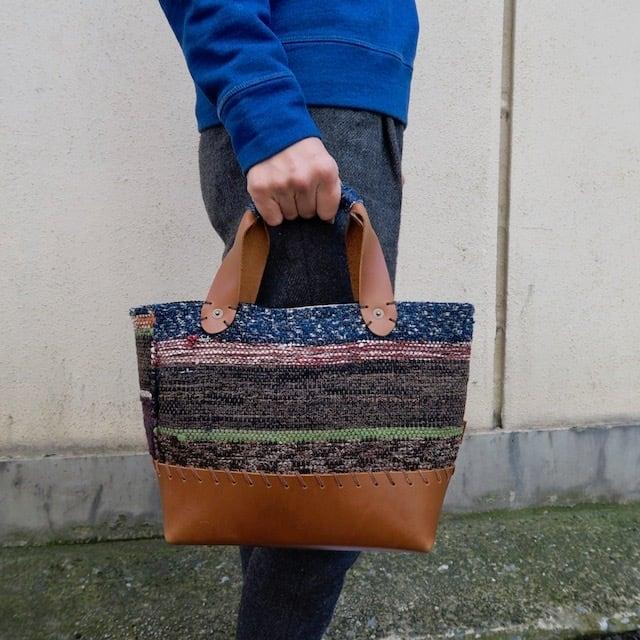 "●▲■×""BORO"" 裂き織りVintage Bag"