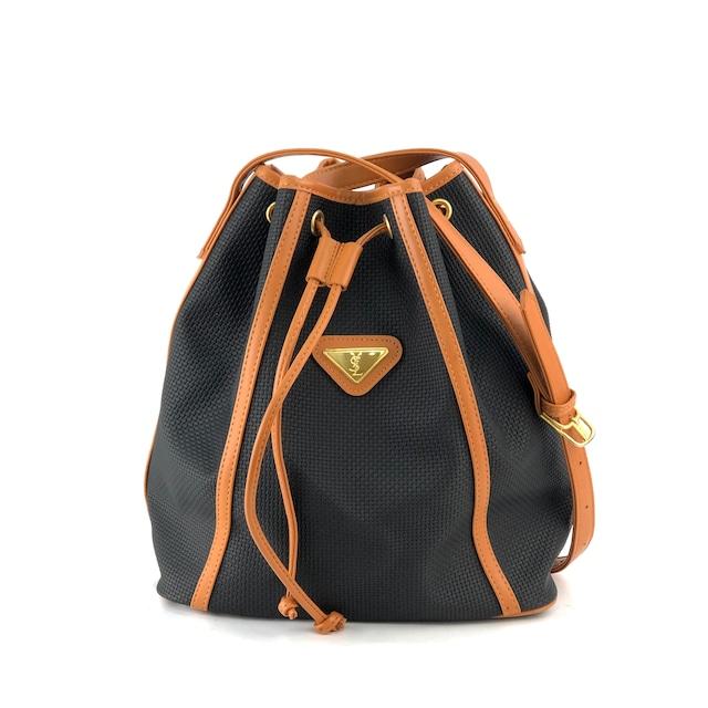 Yves Saint Laurent イヴ サンローラン YSLプレート ショルダーバッグ 巾着 ブラック×キャメル vintage ヴィンテージ オールド  zdybn5