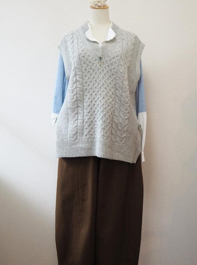 long knit vest <gray>