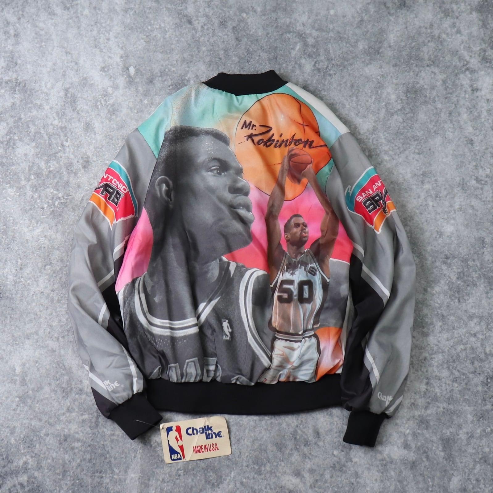 90's【Dead Stock】Chalk Line NBA jacket 90年代 チョークライン デッドストック バスケ ブルゾン スタジャン ナイロンジャケット ヴィンテージ  古着 A513