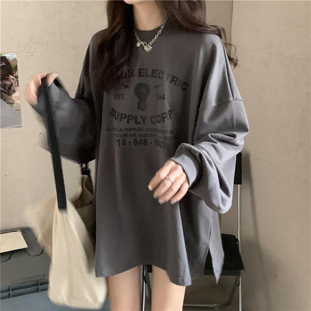 【トップス】ルーズアルファベットラウンドネックTシャツ52181583