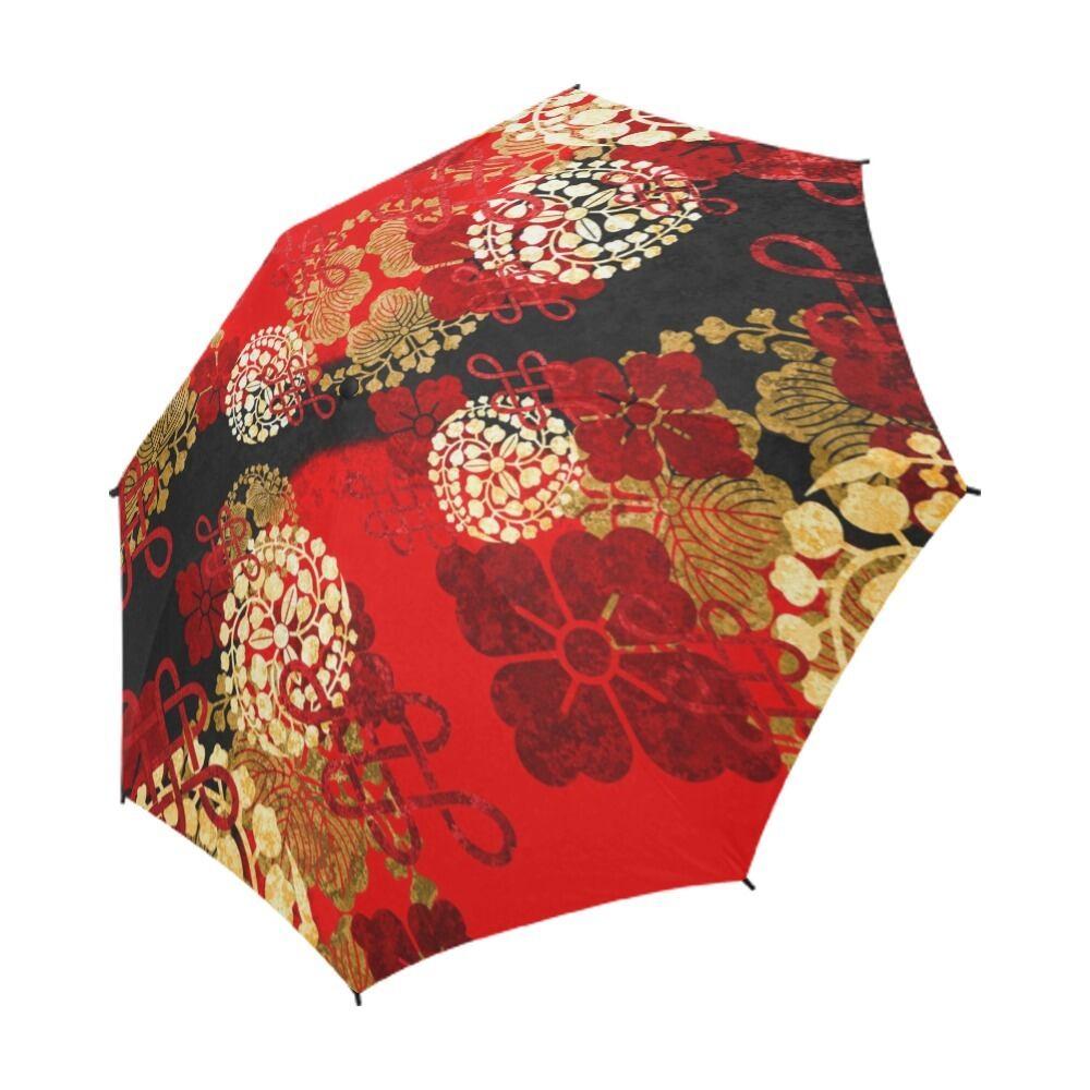 家紋装飾 紅 折りたたみ傘