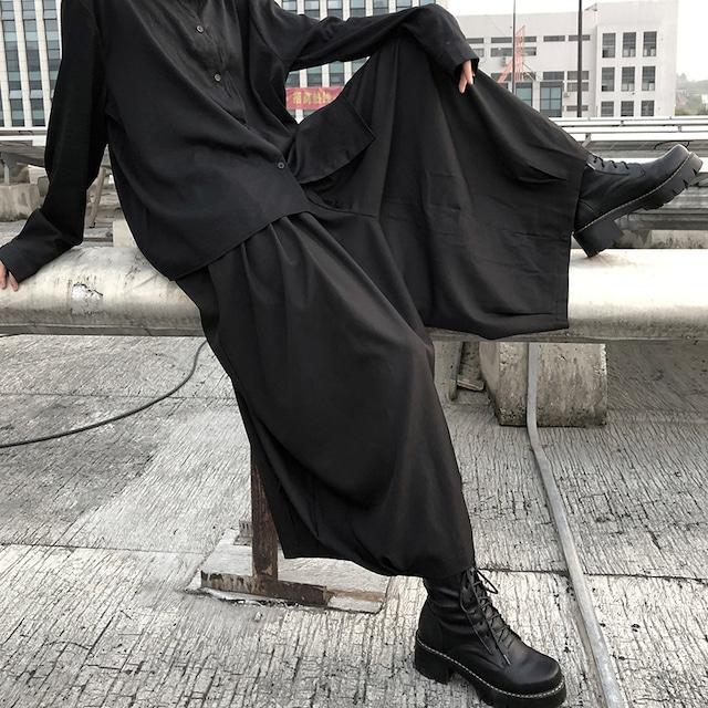 【都谷シリーズ】★キュロットスカート★ ズボン ボトムス 無地 ブラック 黒い 原宿風 個性的 ウエストゴム