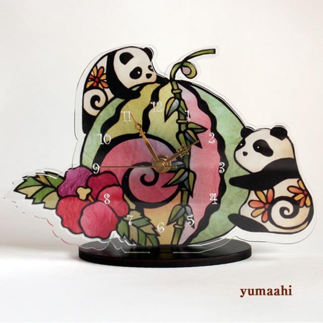 置時計 パンダ : パンダと笹スイカ