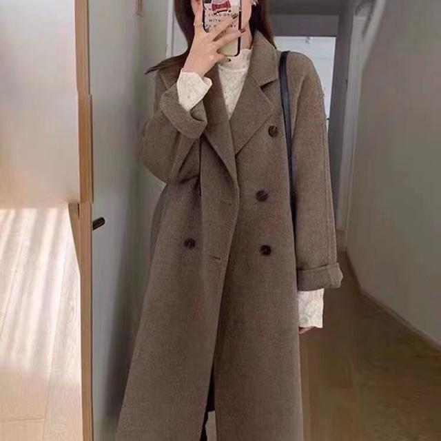 【アウター】柔らかくて優しい印象 レトロ 秋冬 ダブルブレスト ロング 長袖 シングルブレスト コート-2-53905491