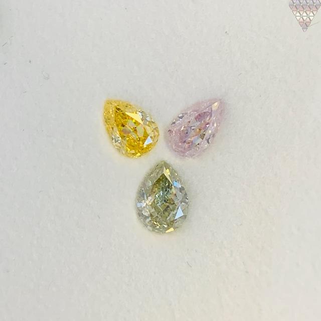 合計  0.67 ct 天然 カラー ダイヤモンド 3 ピース GIA  1 点 付 マルチスタイル / カラー FANCY DIAMOND 【DEF GIA MULTI】