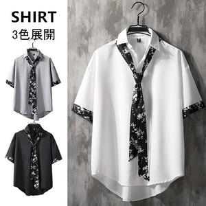 【真っ赤な赤字情熱特集】【トップス】韓国系五分袖シングルブレストPOLOネックシャツ42895644