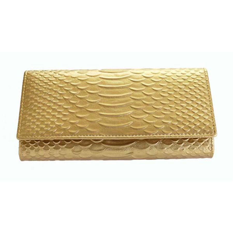 【黄金色の蛇柄・金運如意・便利財布】牛革・黄金色の蛇柄金運如意財布
