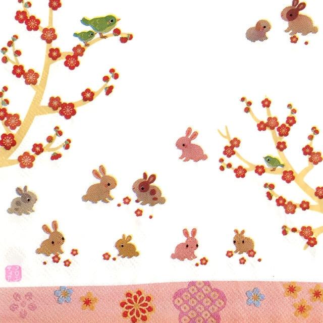 【FRONTIA】バラ売り1枚 ランチサイズ ペーパーナプキン ウサギと梅 ホワイト