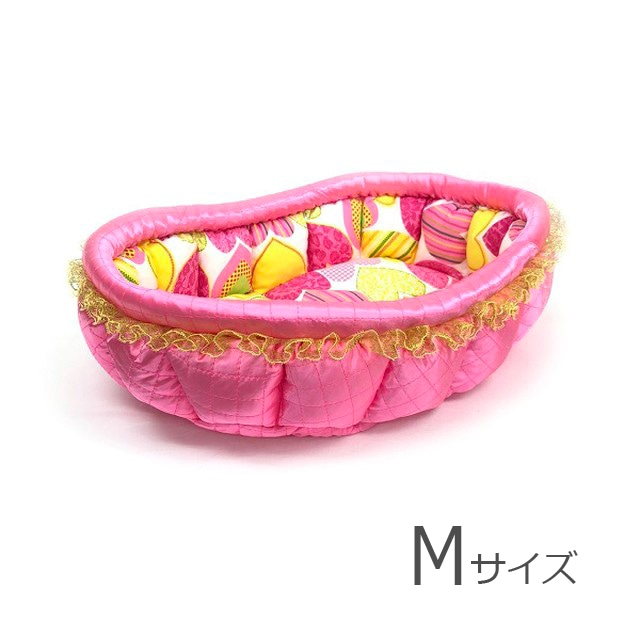 ふーじこちゃんママ手作り ぽんぽんベッド(サテンピンク×ドット猫) Mサイズ 【PB2-131M】