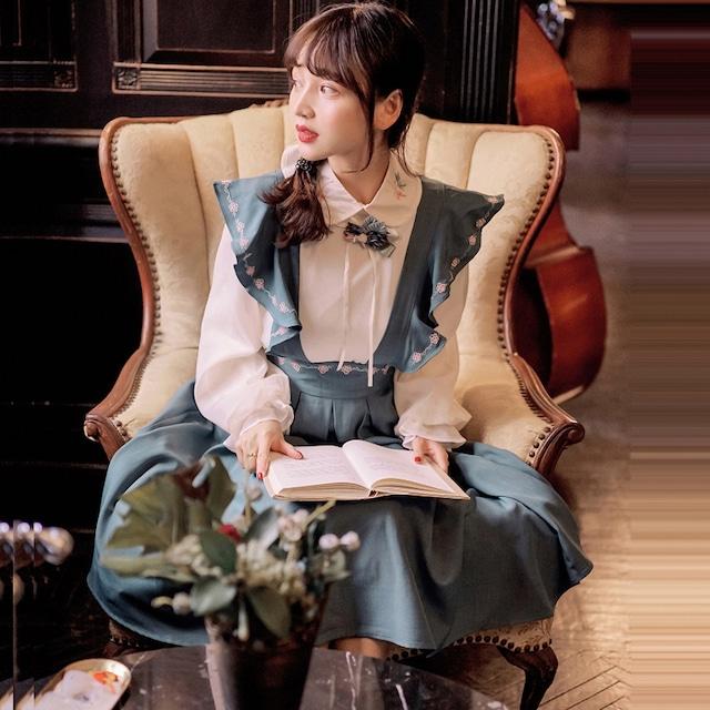 【JUNシリーズ】★チャイナ風セットアップ★ シャツ+つりスカート 可愛い レトロ エレガント デート