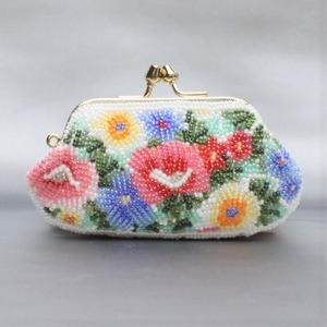 がまぐち財布 008 白紺花 ビーズ刺繍