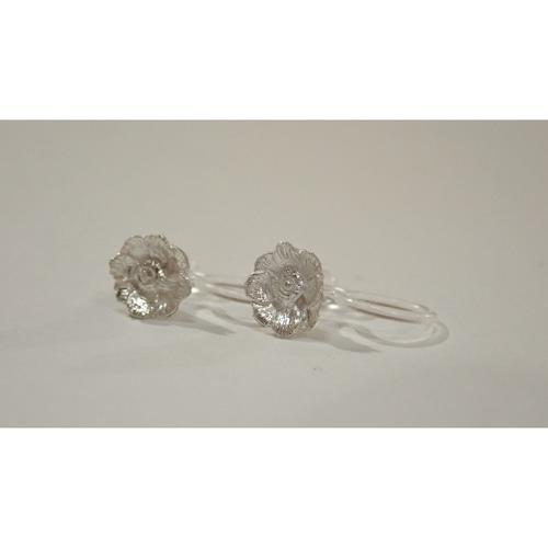 Anemone Silver Clip-on Earrings