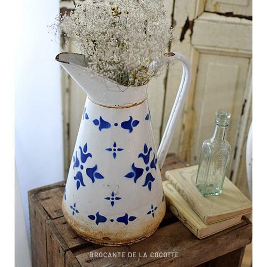 フランス 琺瑯のピッチャー 水差し ブルー柄