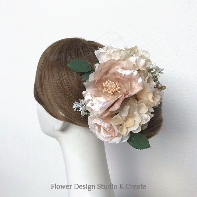 ウェディング・成人式に♡布花とピーチピンクの薔薇のヘッドドレス(13本セット) 薔薇 布花 結婚式 成人式