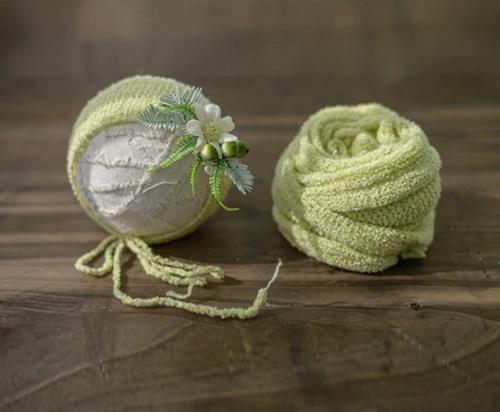 ミントグリーンのwrap&帽子セット