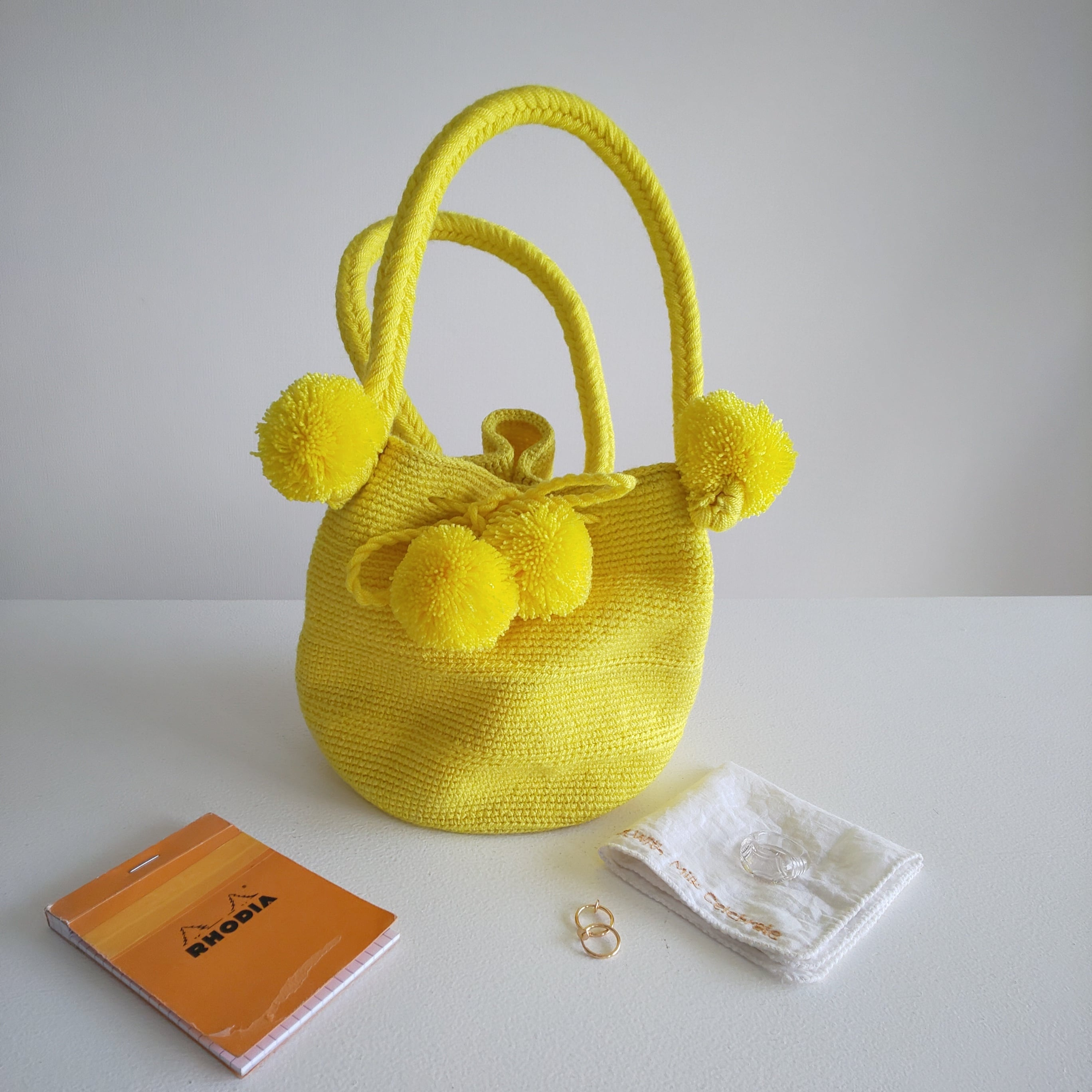 Handmade pom  poms bag - Yellow -