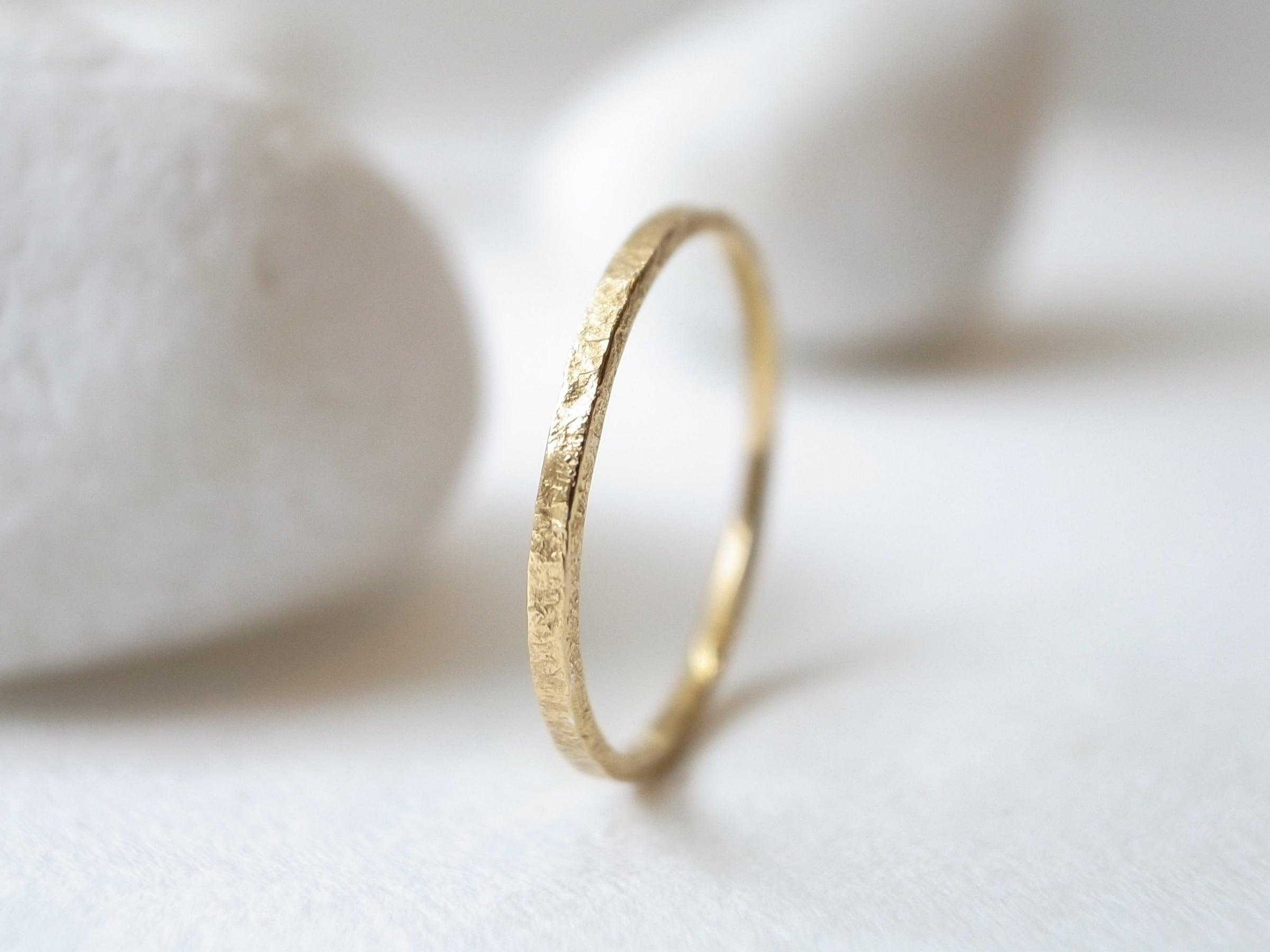 K18YG/stone texture ring