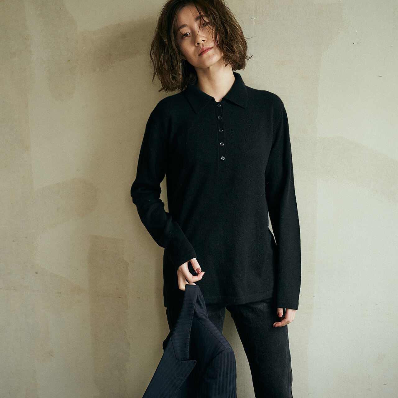 90's Black cashmere poro knit