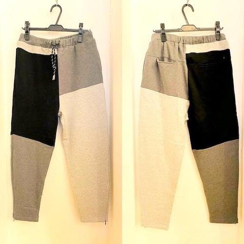 Patchwork Design Sweat Pants Charcoal