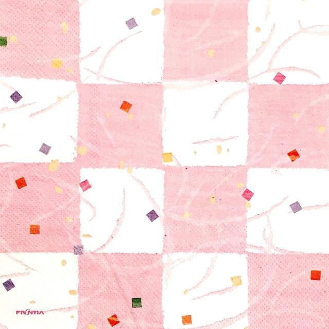 【FRONTIA】バラ売り1枚 ランチサイズ ペーパーナプキン 市松 ホワイト×ピンク