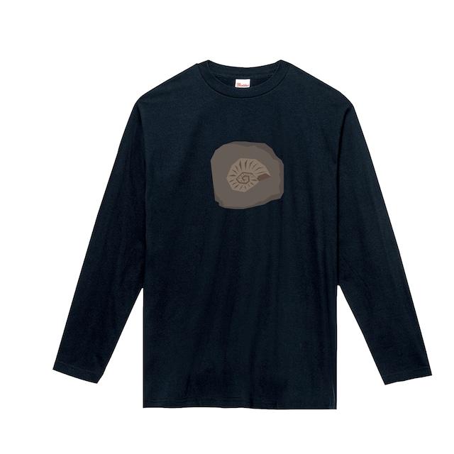 恐竜Tシャツ(長袖)-化石アンモナイト(ネイビー)