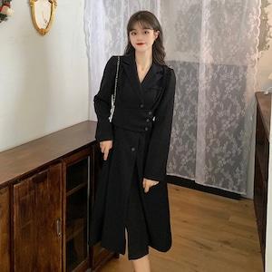 【ワンピース】韓国系長袖折り襟Aラインワンピース52898453