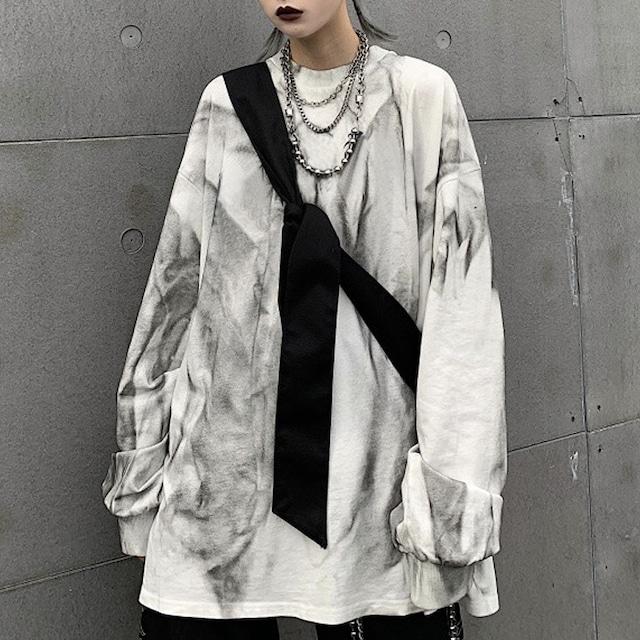 ユニセックス タイダイ染め Tシャツ 長袖 オーバーサイズ 韓国ファッション メンズ レディース ロンT ルーズ カジュアル ストリートファッション TBN-602094054655