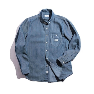 【UNISEX】ブルー ストライプ ロングスリーブシャツ レトロ