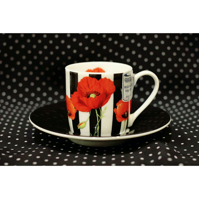 ストライプ 赤い花<エスプレッソカップ>KONITZ  浜松雑貨屋C0pernicus(電子レンジ、食器洗浄機にも対応)