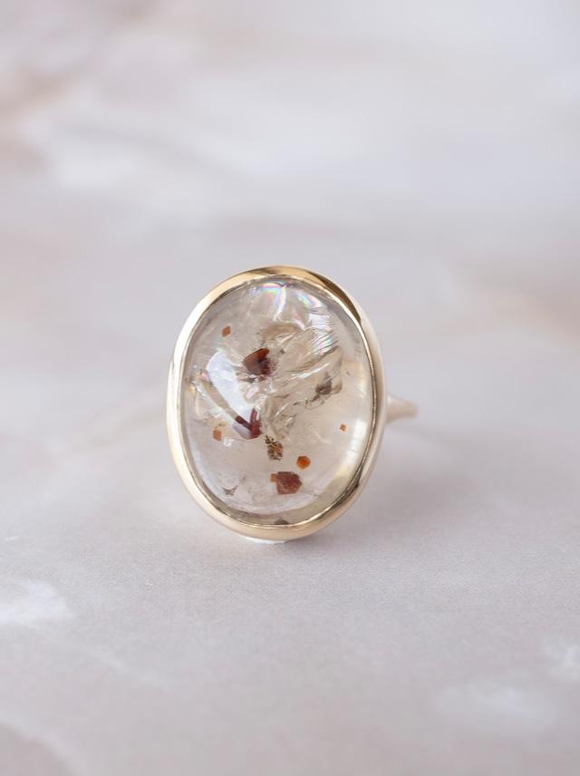 Garnet in Quartz Ring