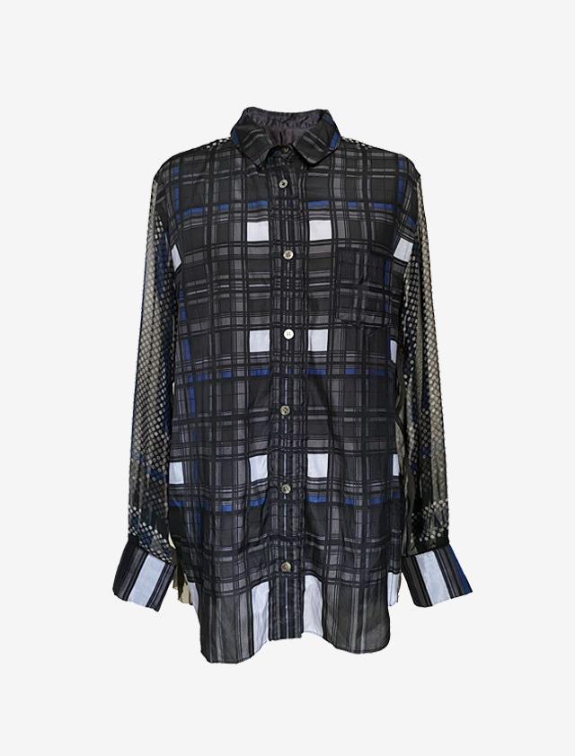 SACAI バックプリーツ 長袖シャツ