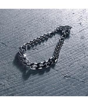Y2010KHB0918【YArKA/ヤーカ】silver925 thick big flat & flat & figala  chain bracelet [FFF]/喜平&フィガロチェーンミックスブレスレット シルバー925