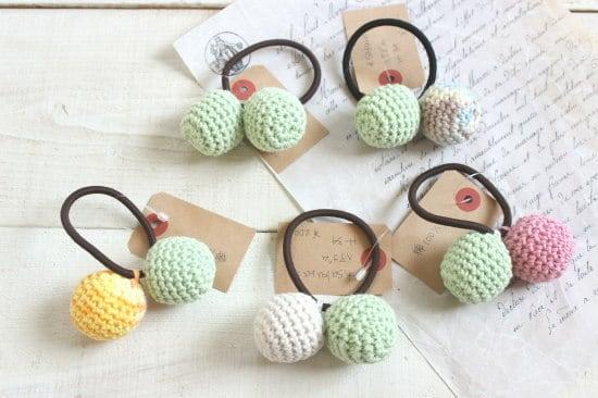 ぼんぼんヘアゴム*手編み グリーン系/sakura 型番:H-34