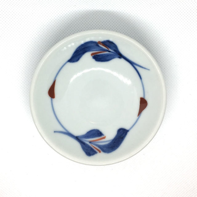 【砥部焼/梅山窯】3寸小皿(三つ葉)